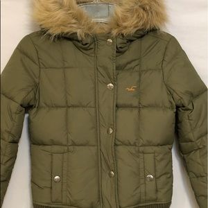 HOLLISTER Down Puffer Jacket w/Faux Fur Collar - S